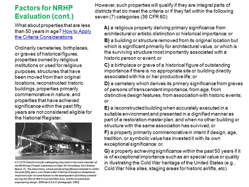 Factors for NRHP Evaluation (cont.)