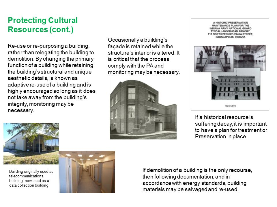 Protecting Cultural Resources (cont.)
