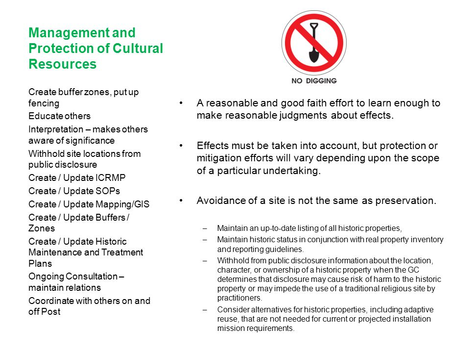 Management and Protection of Cultural Resources