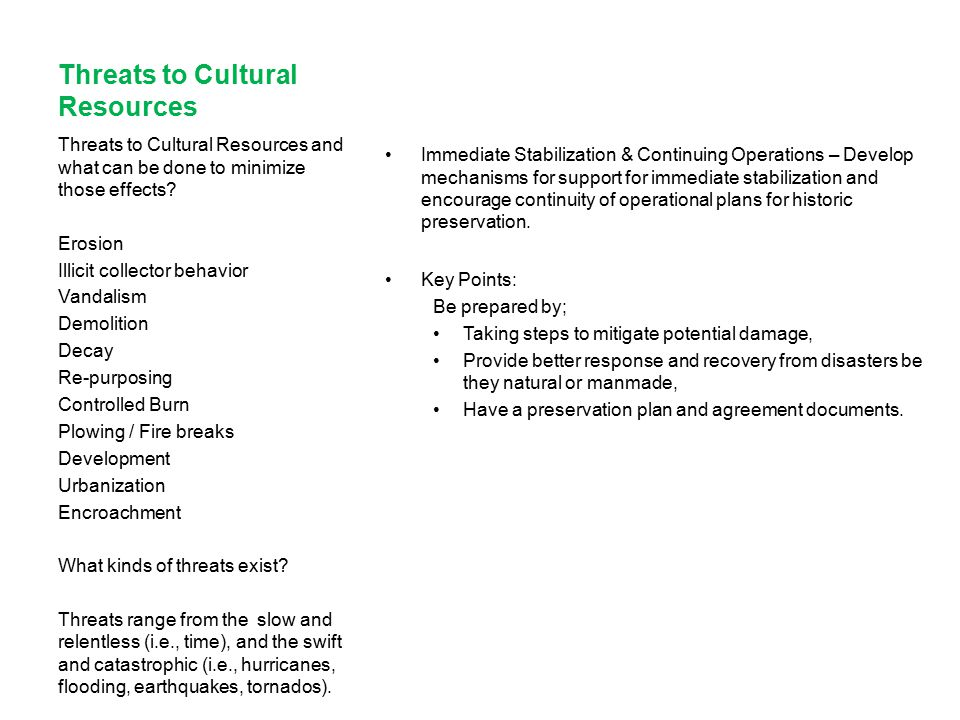 Threats to Cultural Resources