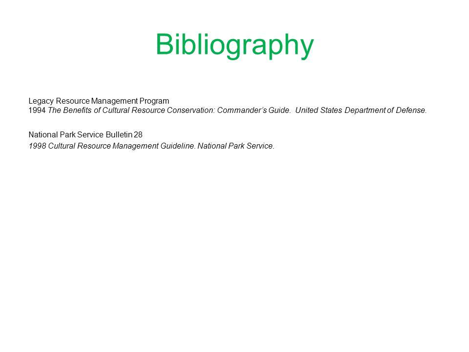 Bibliography Legacy Resource Management Program