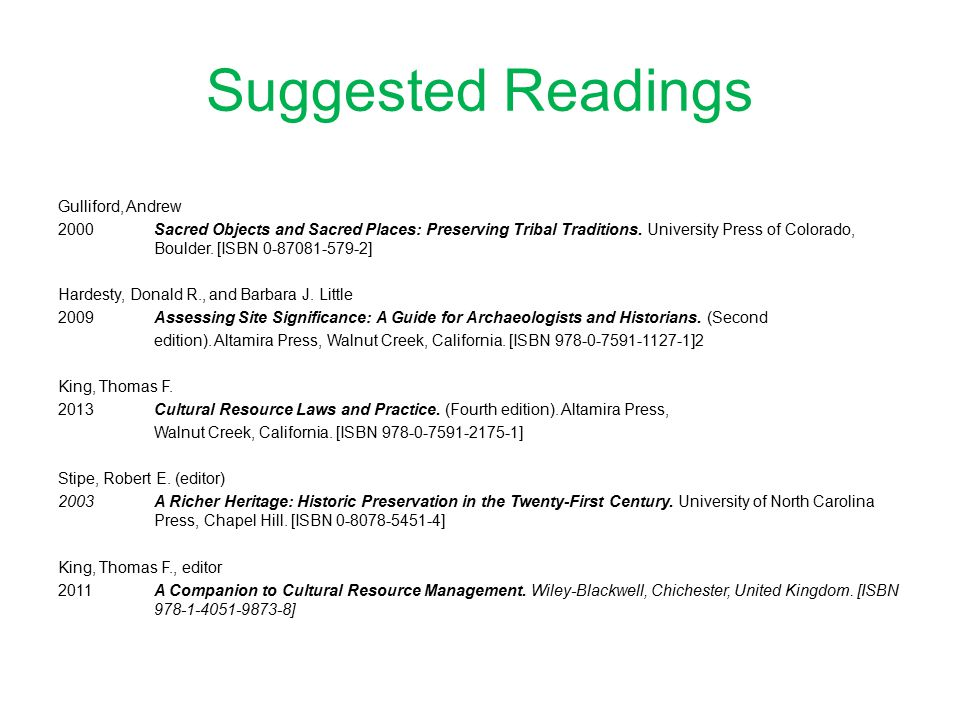 Suggested Readings Gulliford, Andrew