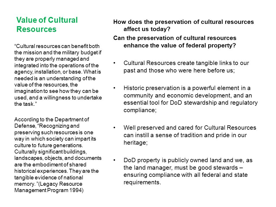 Value of Cultural Resources