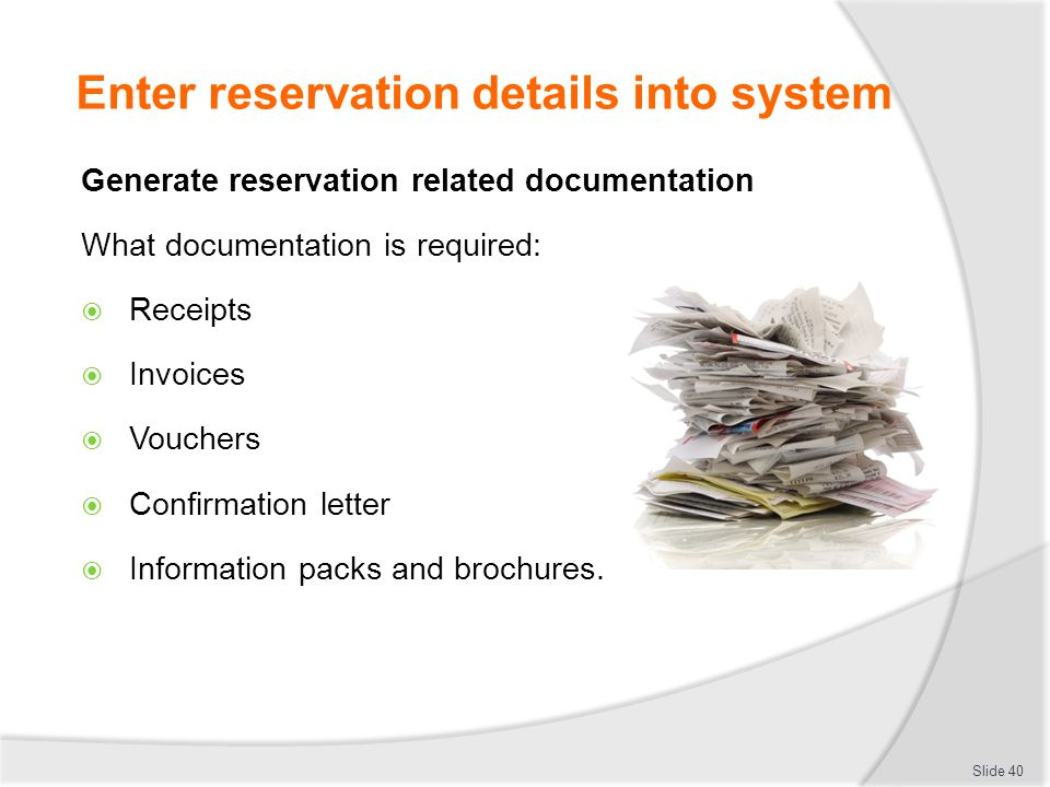 Receive And Process Reservations - Ppt Download