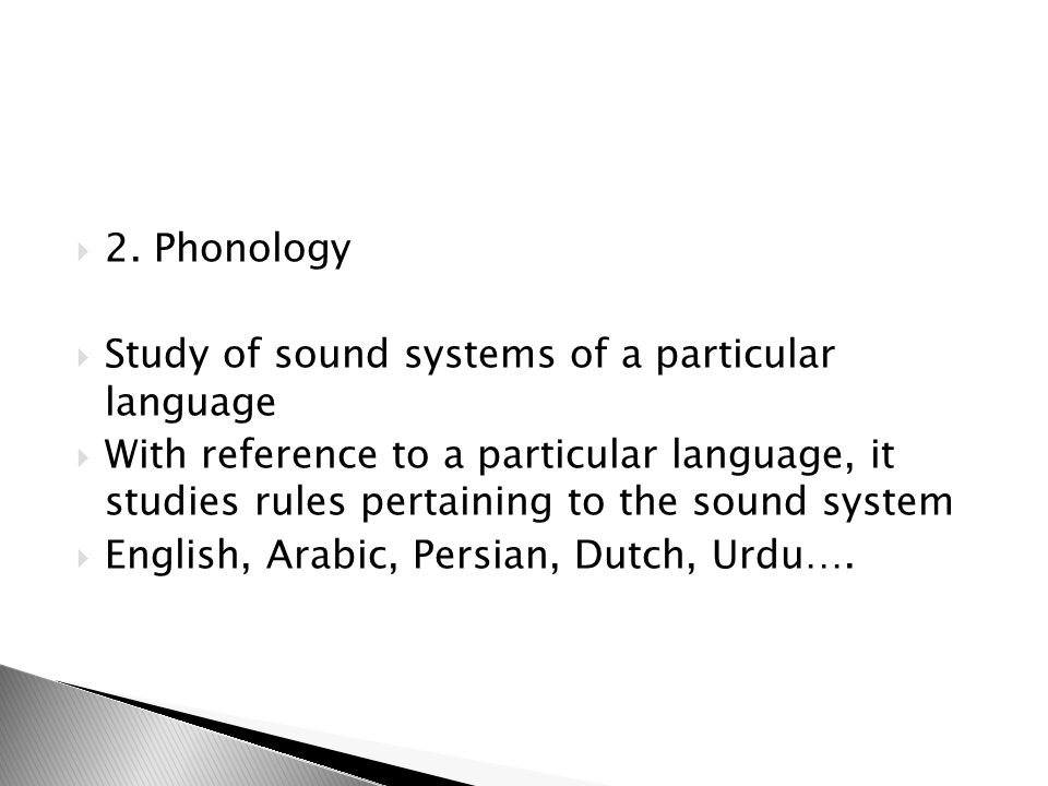2. Phonology Study of sound systems of a particular language.