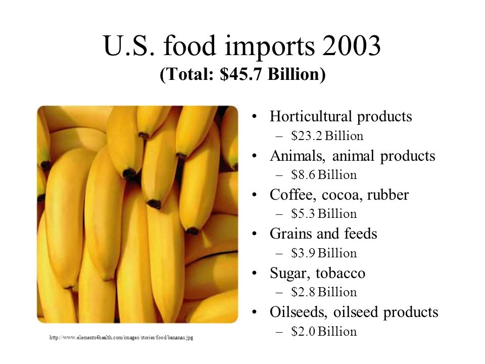 U.S. food imports 2003 (Total: $45.7 Billion)