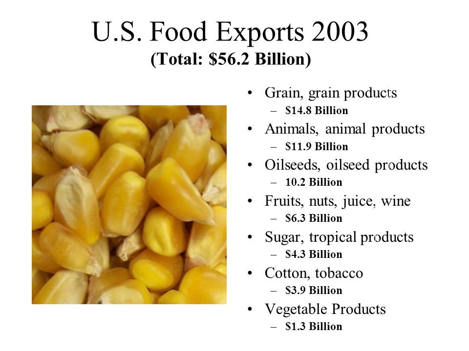 U.S. Food Exports 2003 (Total: $56.2 Billion)