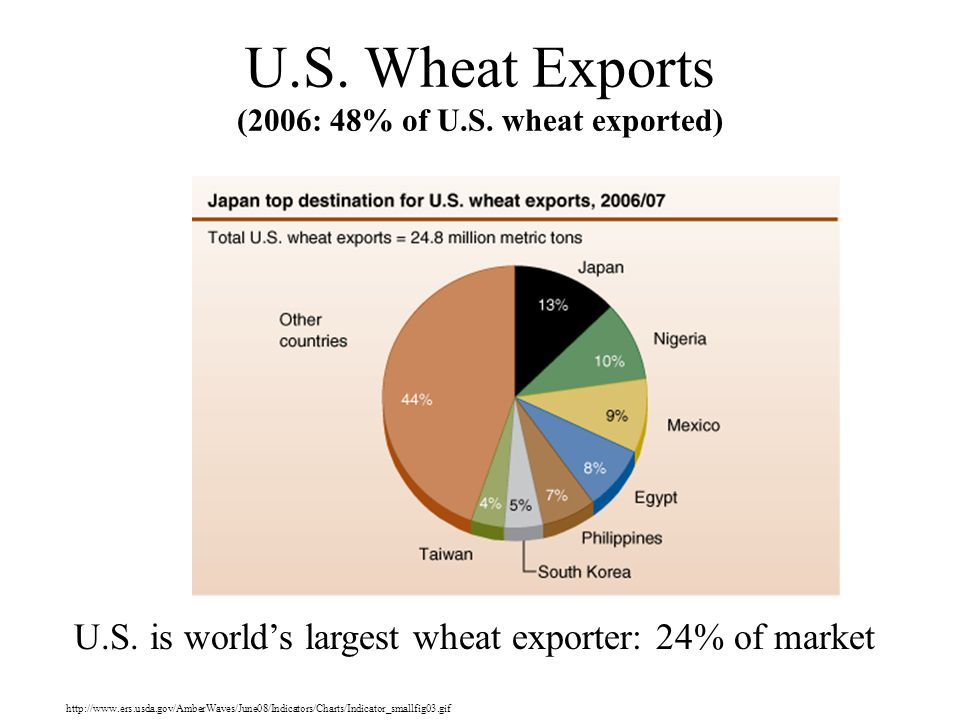 U.S. Wheat Exports (2006: 48% of U.S. wheat exported)
