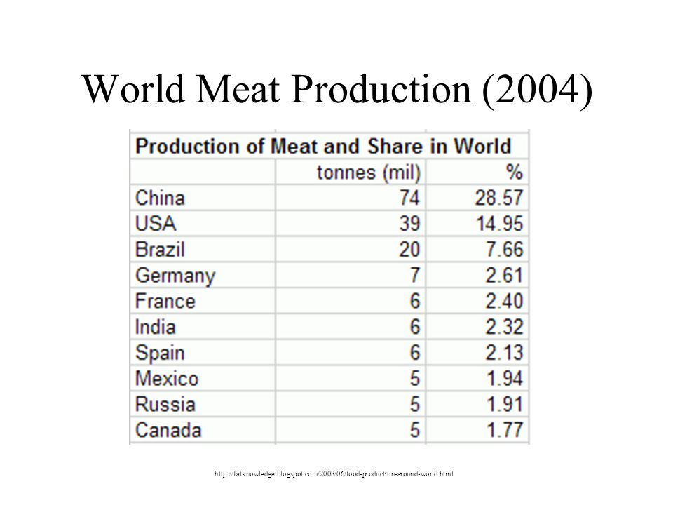 World Meat Production (2004)