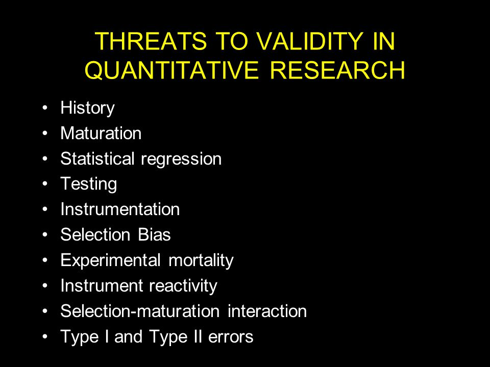 threats to research validity The limitation section of your research plan, identify your threats to both internal and external validity and discuss controls begin by thinking about your student and identifying a list of.