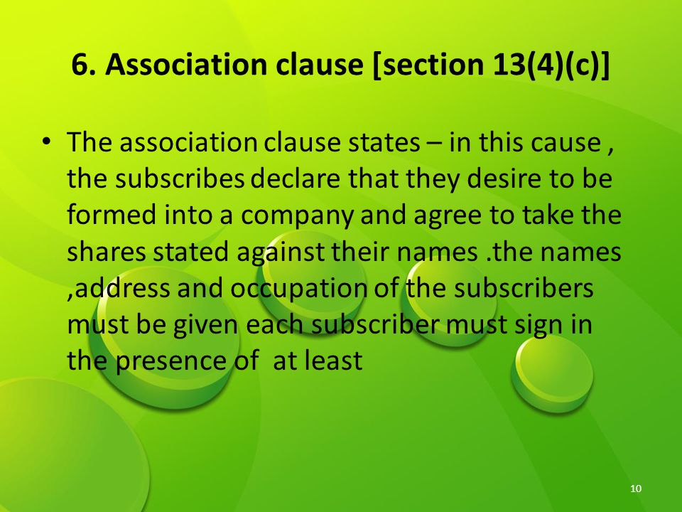 6. Association clause [section 13(4)(c)]