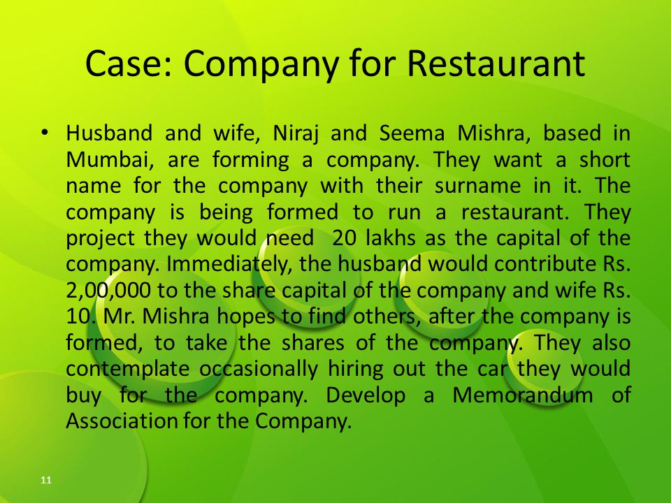Case: Company for Restaurant