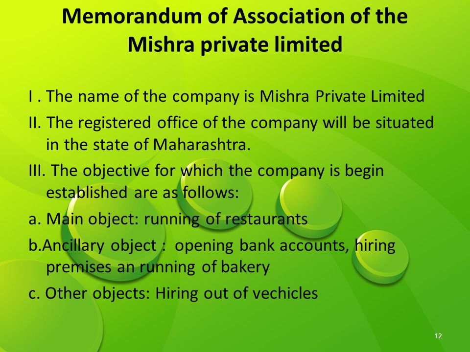 Memorandum of Association of the Mishra private limited