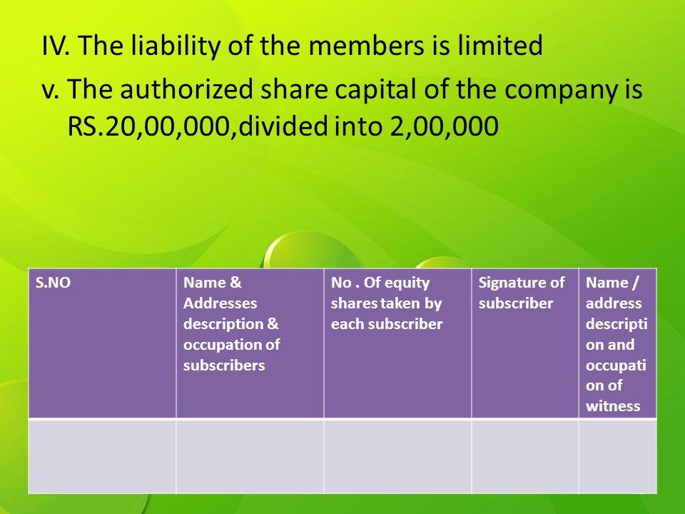IV. The liability of the members is limited v