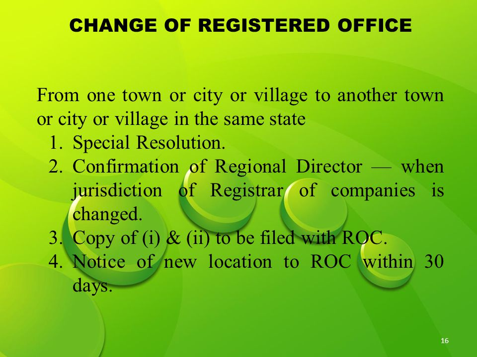 CHANGE OF REGISTERED OFFICE