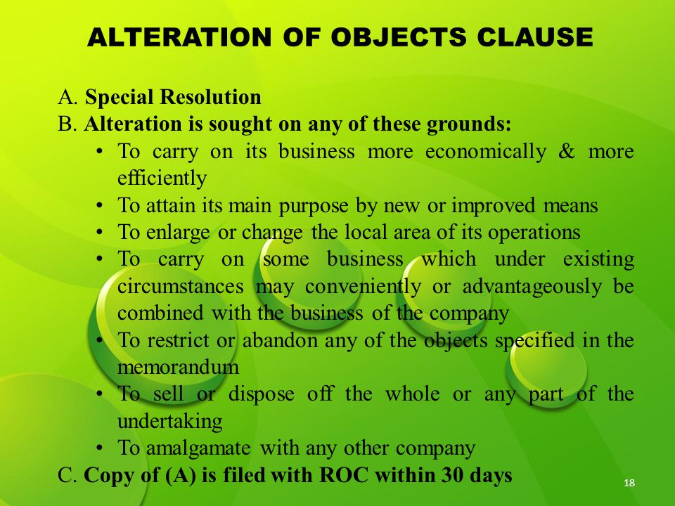 ALTERATION OF OBJECTS CLAUSE
