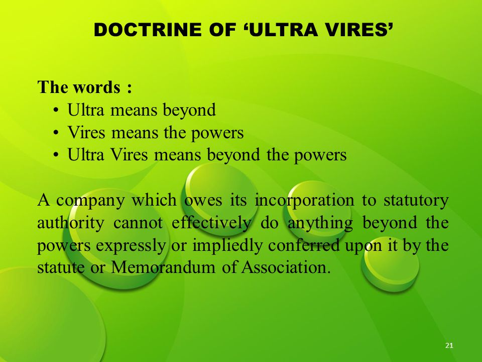 DOCTRINE OF 'ULTRA VIRES'