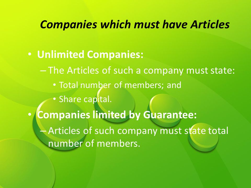 Companies which must have Articles