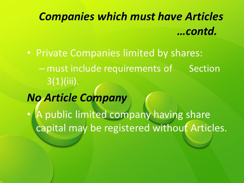 Companies which must have Articles …contd.