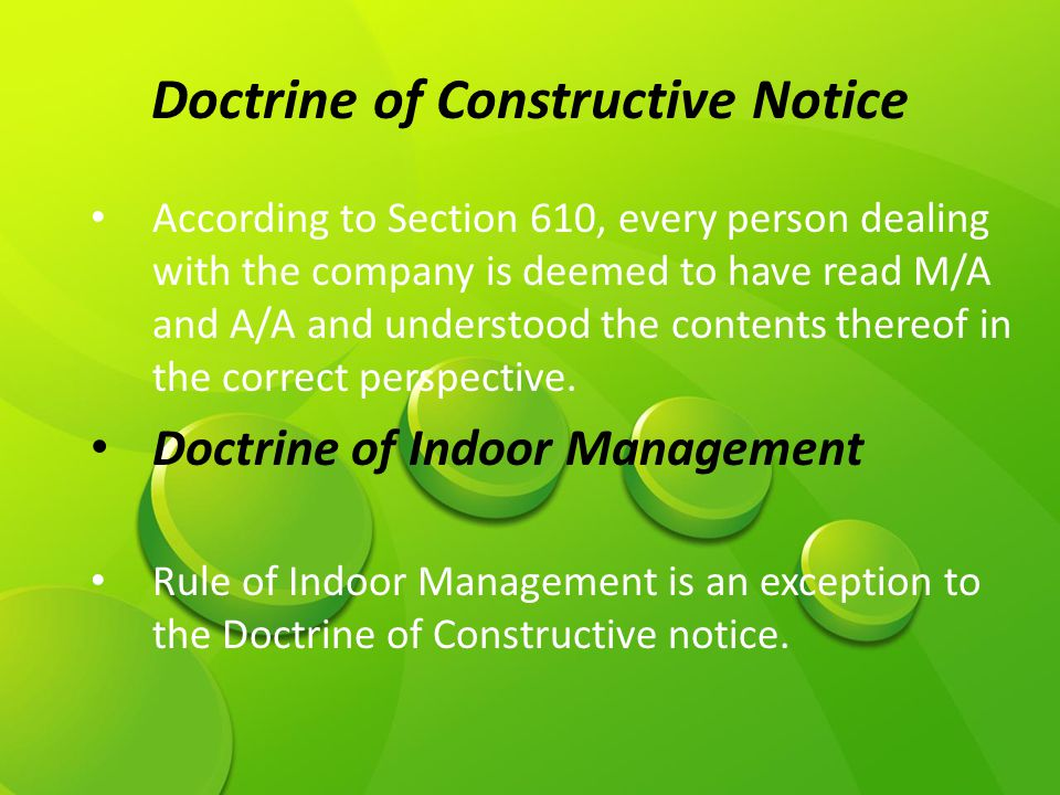 Doctrine of Constructive Notice