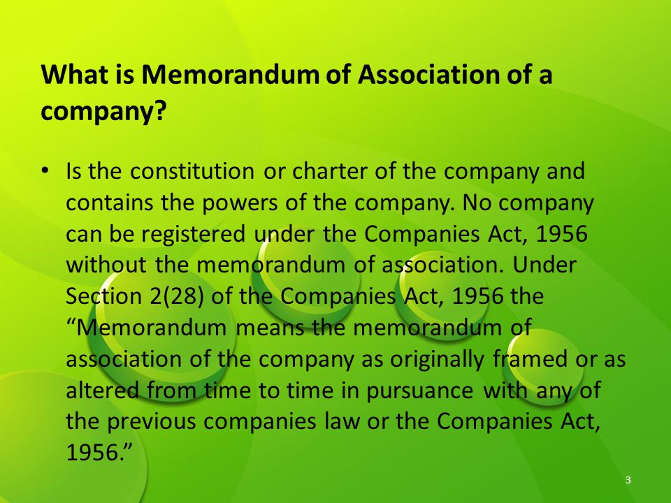 What is Memorandum of Association of a company