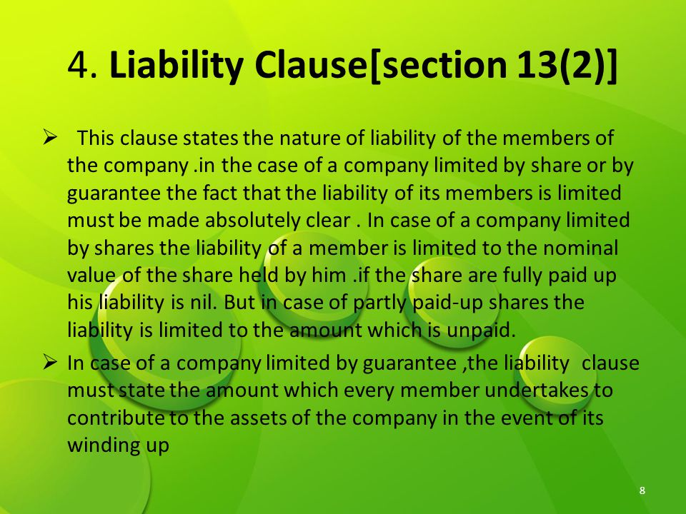 4. Liability Clause[section 13(2)]