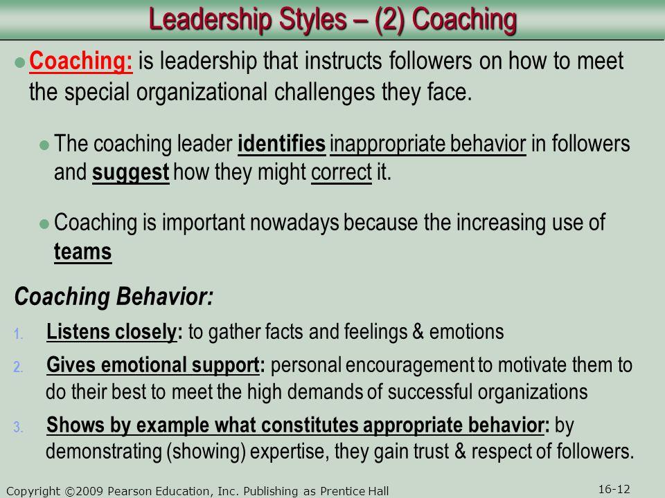 Leadership Styles – (2) Coaching