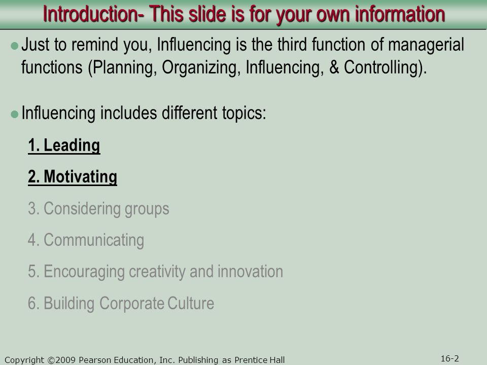 Introduction- This slide is for your own information