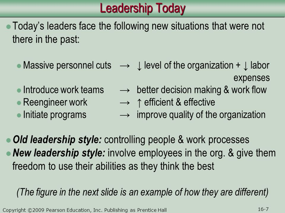 Leadership Today Today's leaders face the following new situations that were not there in the past: