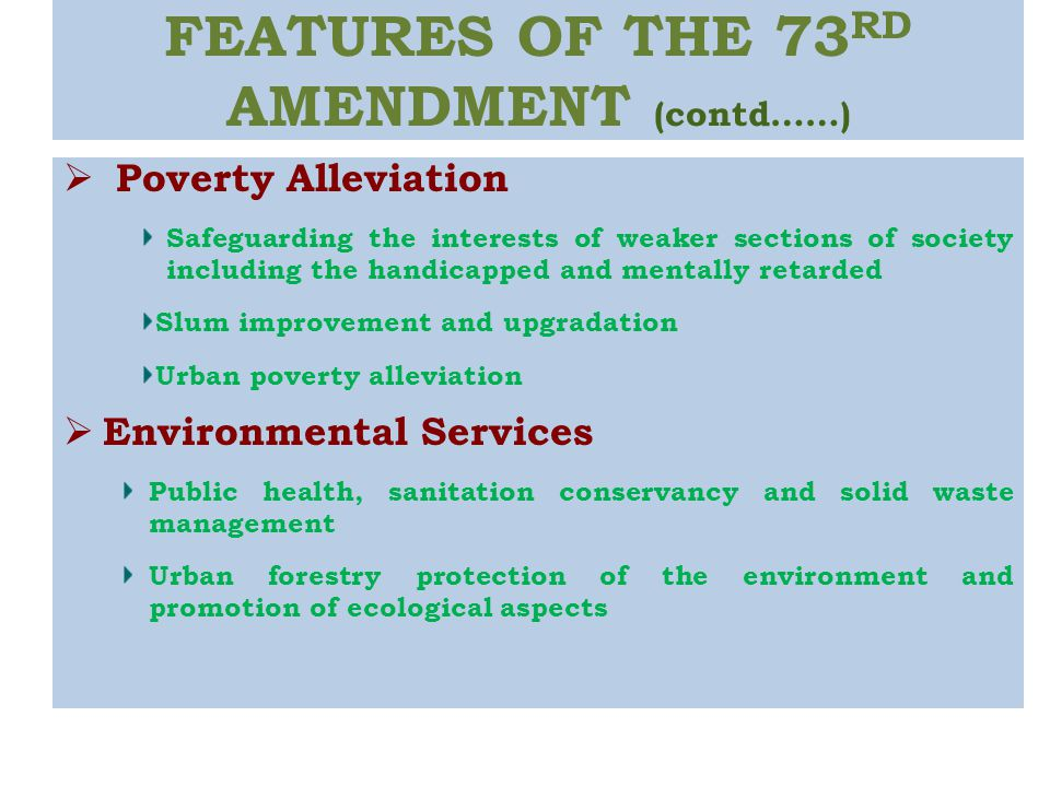73rd amendment 73rd constitutional amendment act panchayat3 – tier system part ix of the constitution envisages a threetier system of panchayats, namely, (a) the village.