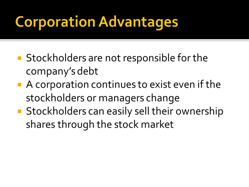 Corporation Advantages