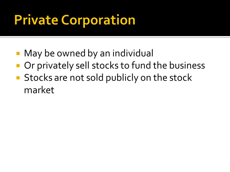 Private Corporation May be owned by an individual