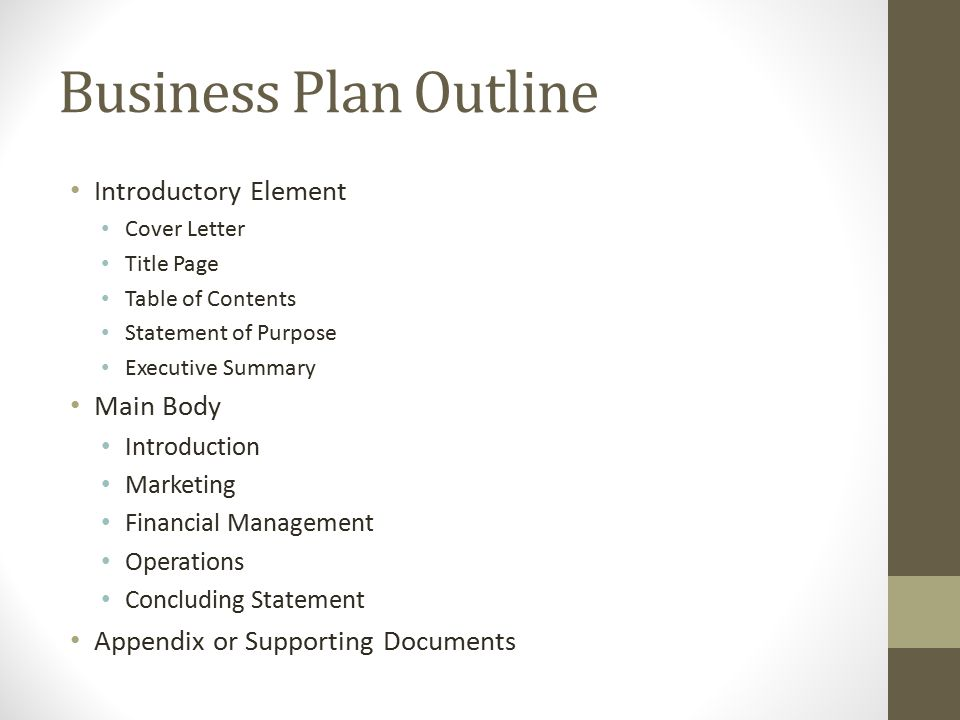 The outline for financial management for small businesses