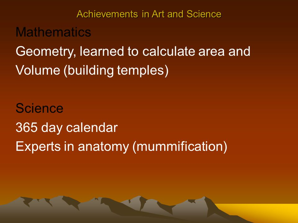Achievements in Art and Science