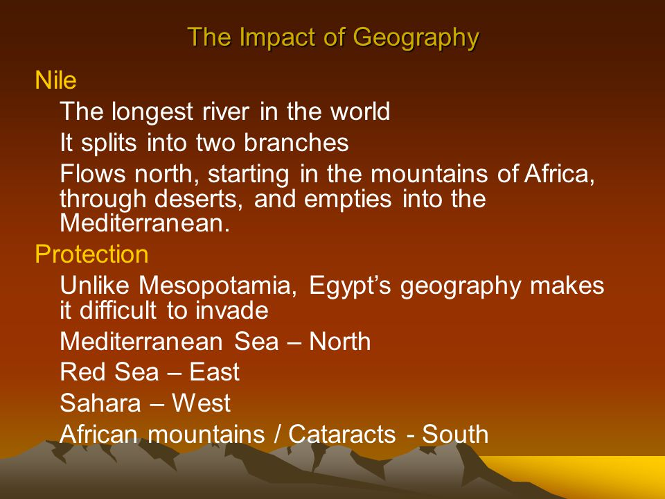 impact of geography on ancient egypt How did the geography of ancient egypt influence life in the region today, i traveled around egypt how did geography impact the ancient egyptians.