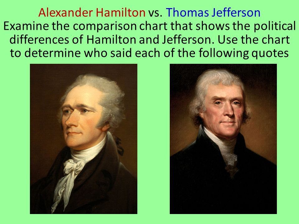 comparison thomas jefferson and alexander hamilton Sample classification essay - hamilton vs jefferson led by thomas jefferson you just finished sample classification essay - hamilton vs jefferson.