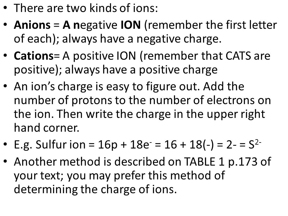There are two kinds of ions: