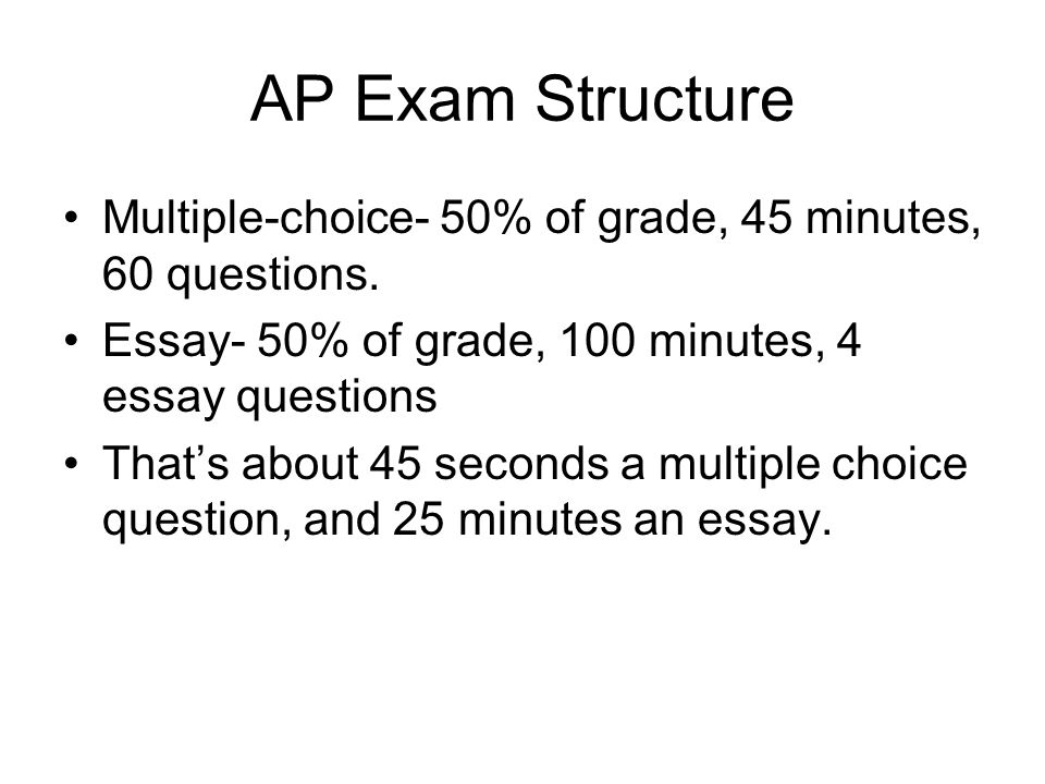 ap test essay questions The long essay question on the ap us history exam is designed to test your ability to apply knowledge of history in a complex, analytic manner.