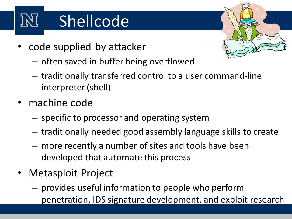 Shellcode code supplied by attacker machine code Metasploit Project