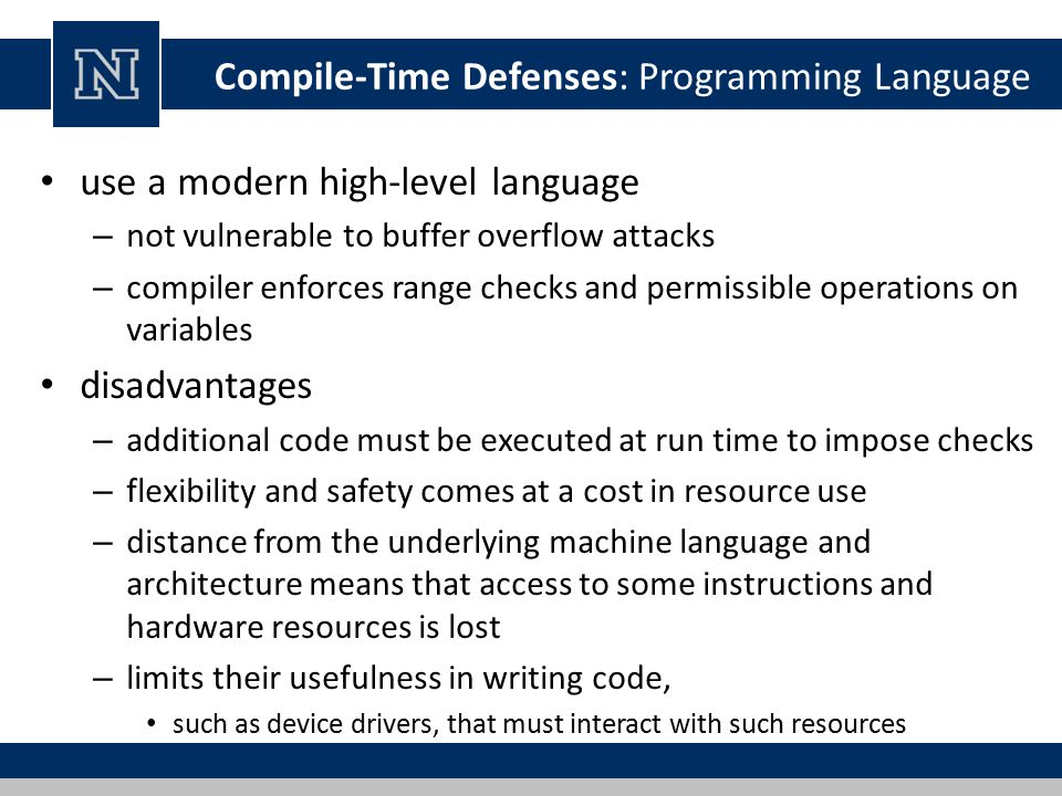 Compile-Time Defenses: Programming Language