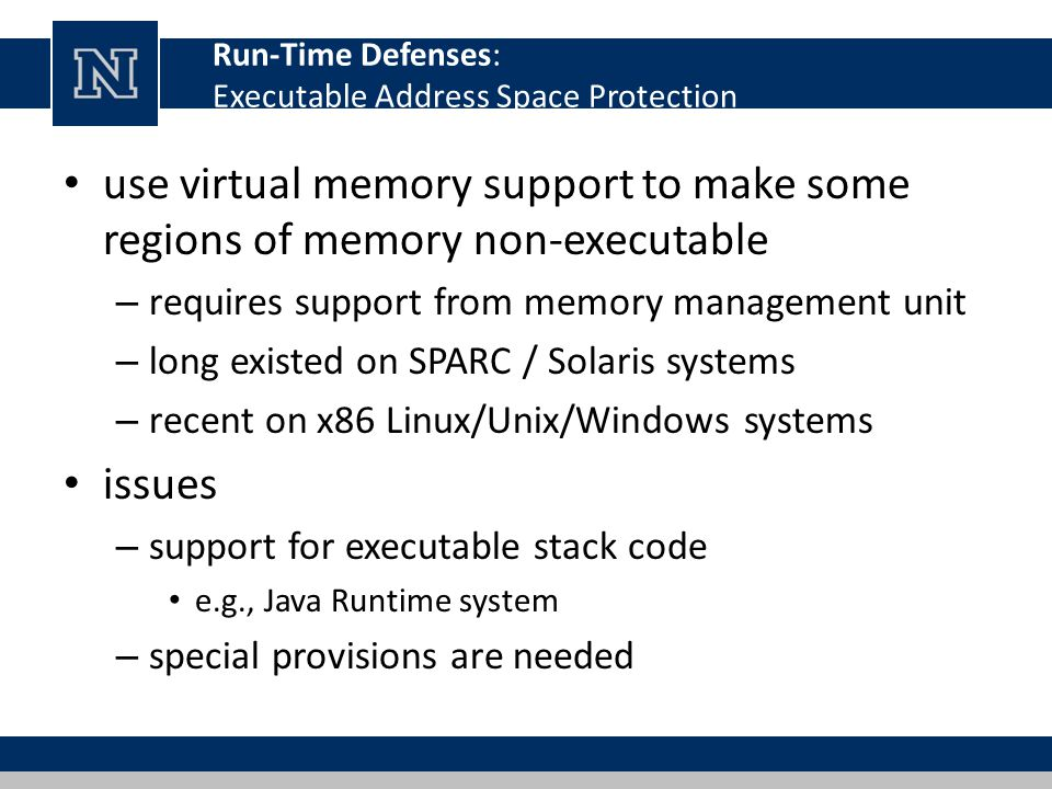 Run-Time Defenses: Executable Address Space Protection