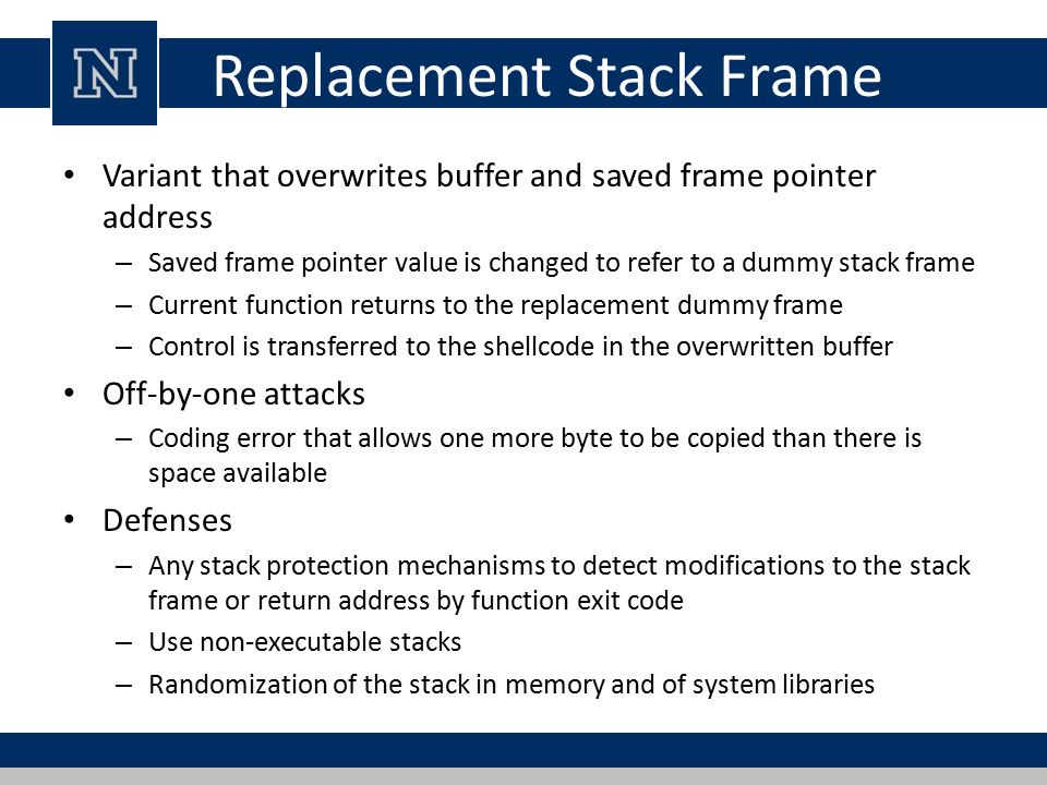 Replacement Stack Frame
