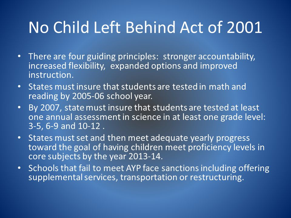 no child left behind act On january 8, 2002, the no child left behind act became law this guide is meant to provide you with information about the act it summarizes the main provisions of the law, answers common questions, and provides information.