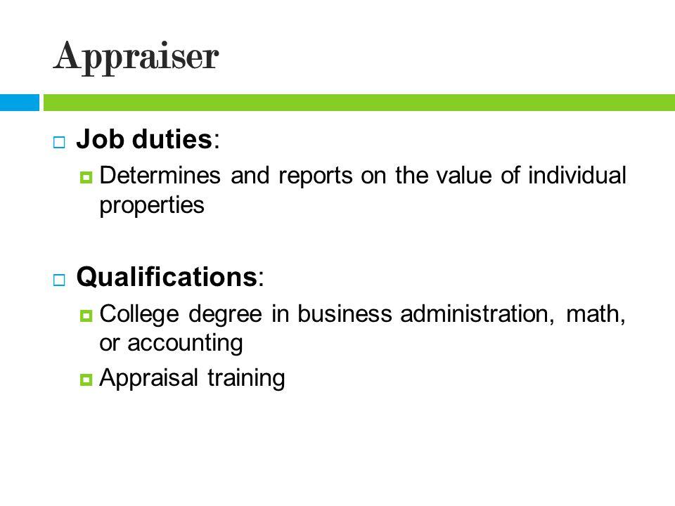 Property Appraiser Job Duties