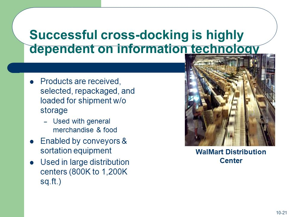 Successful cross-docking is highly dependent on information technology
