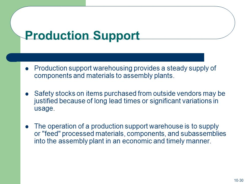 Production Support Production support warehousing provides a steady supply of components and materials to assembly plants.