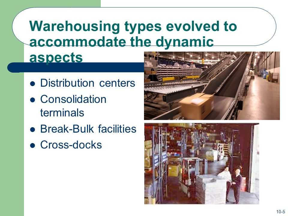 Warehousing types evolved to accommodate the dynamic aspects