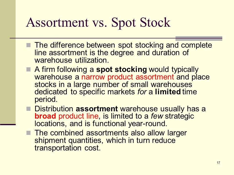 Assortment vs. Spot Stock
