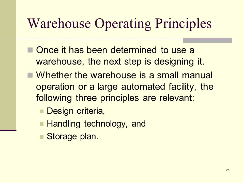 Warehouse Operating Principles