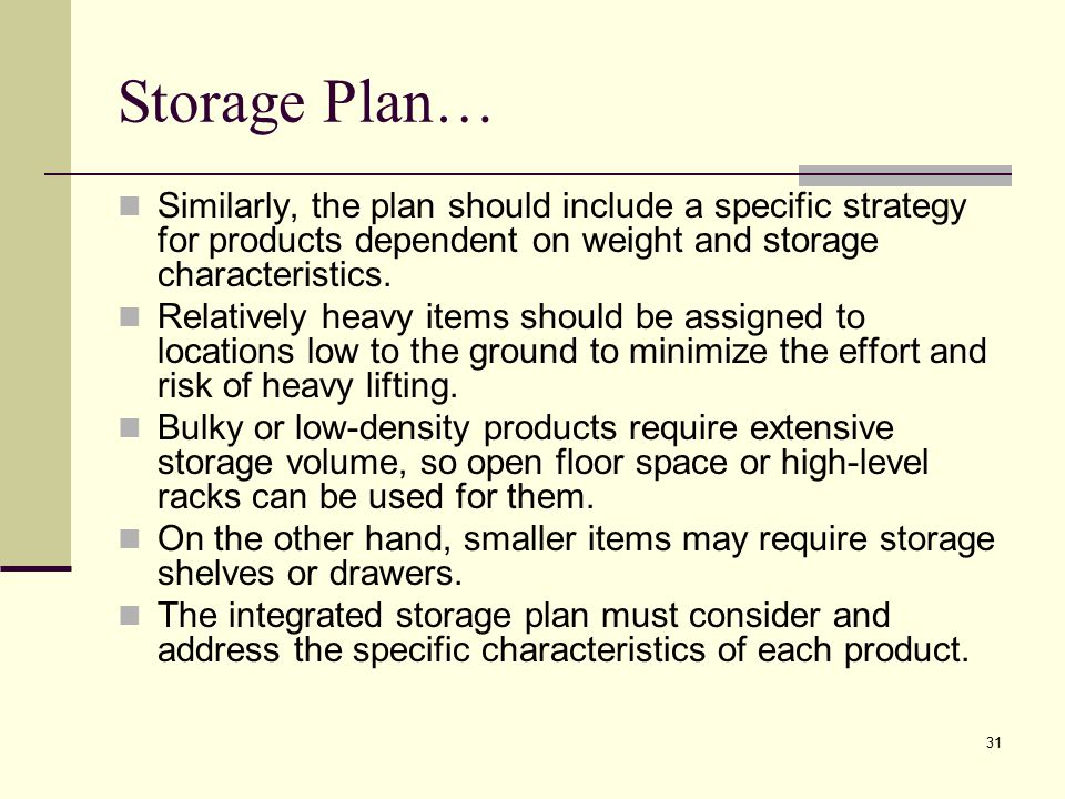 Storage Plan… Similarly, the plan should include a specific strategy for products dependent on weight and storage characteristics.